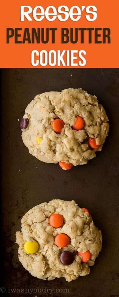Oh my gosh!! These Reeses Peanut Butter Oatmeal Cookies are ridiculously good!