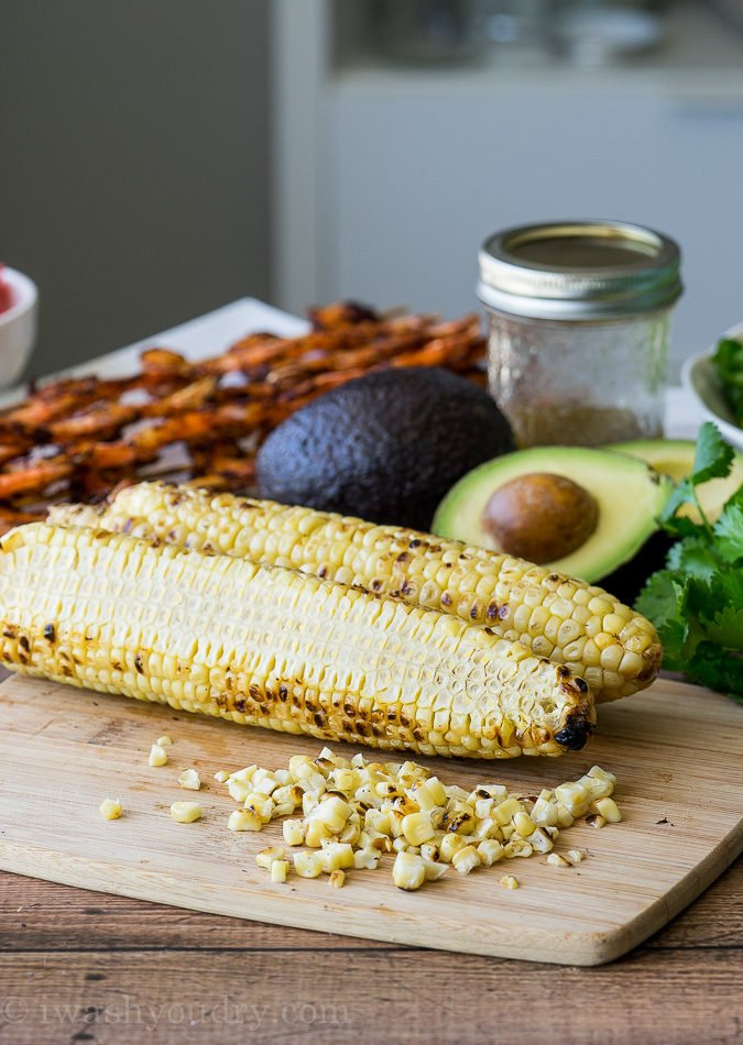 The grilled corn in this Grilled Southwestern Shrimp Salad gives it a nice touch.
