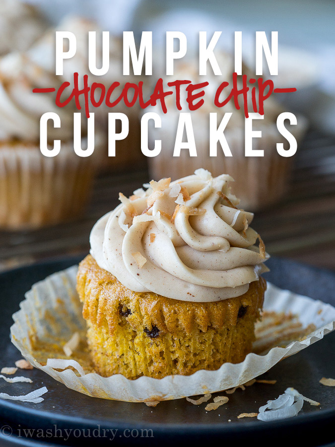 Pumpkin Chip Cupcakes with Spiced Cream Cheese Frosting