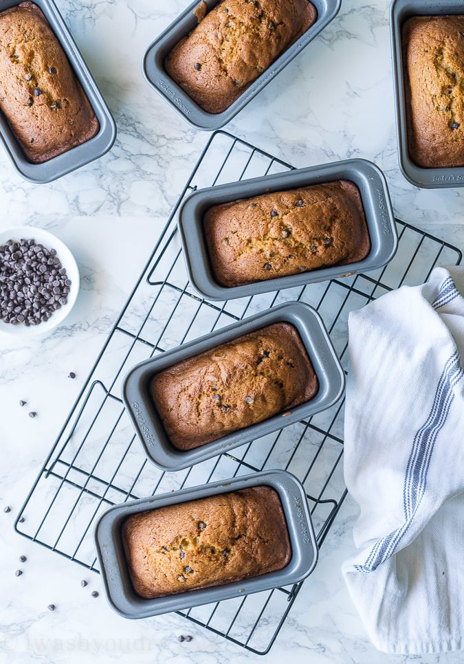 This Pumpkin Chocolate Chip Bread makes for a perfect holiday gift! So moist and perfectly sweetened with that pumpkin pie spice!