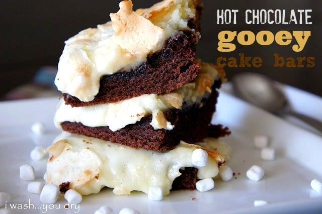 hot chocolate gooey cake bars