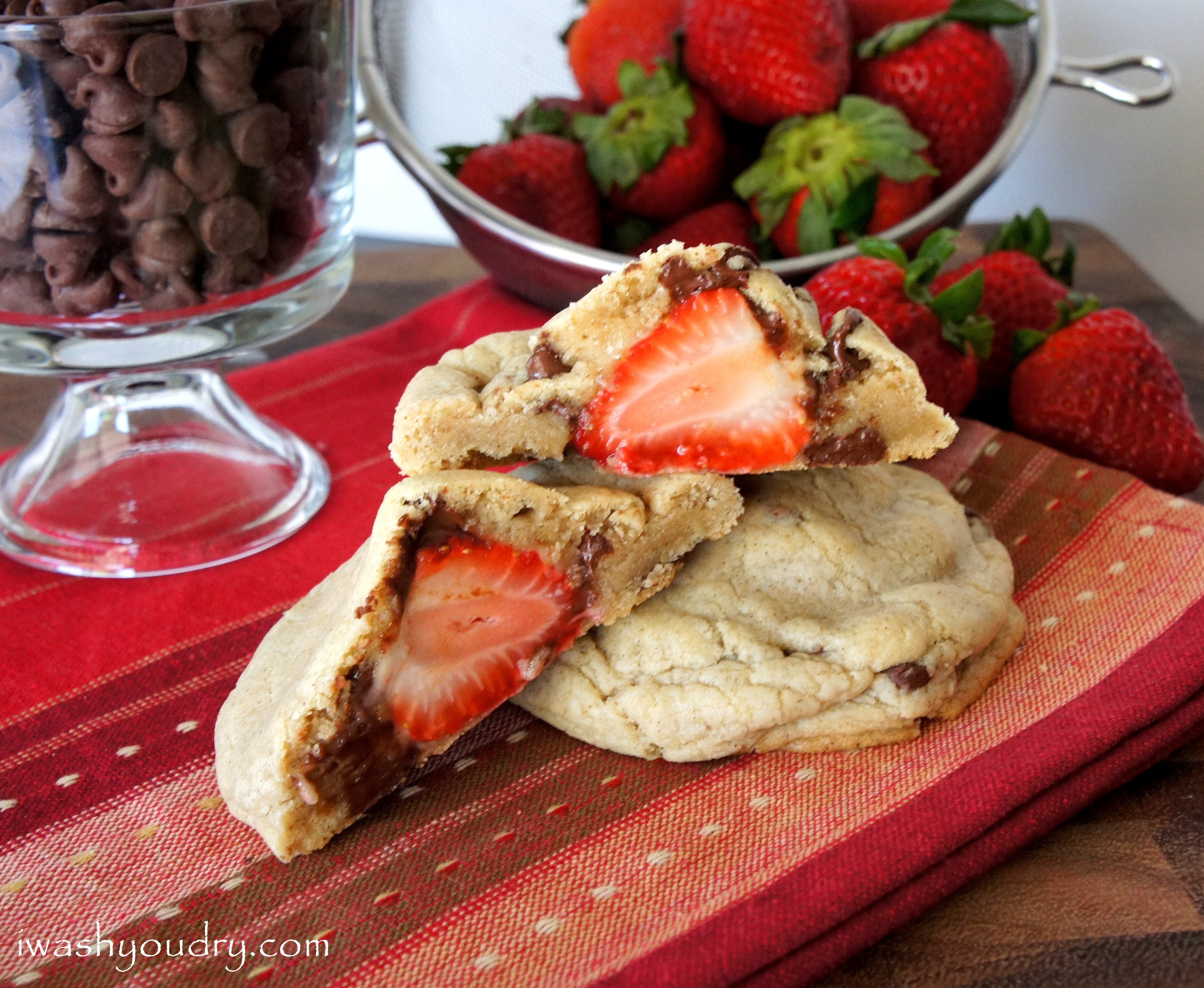 Strawberry stuffed Chocolate Chip Cinnamon Cookies