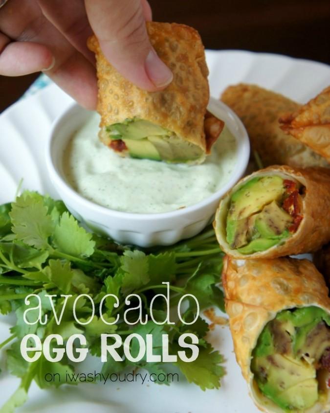 Avocado Egg Rolls with a Creamy Cilantro Ranch Dip! Cheesecake Factory copycat recipe!