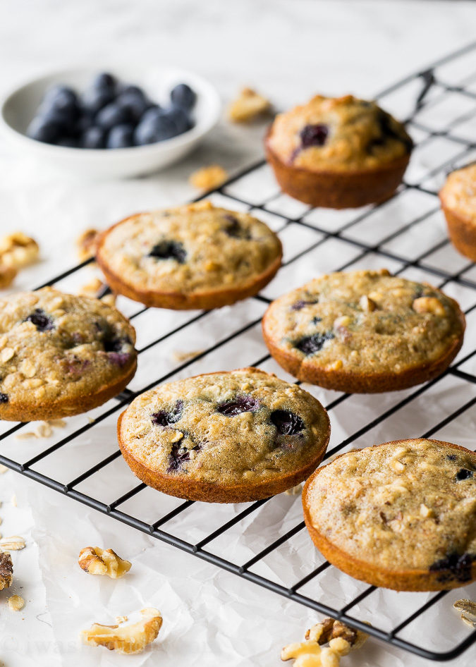 These Blueberry Walnut Oatmeal Muffin Tops are perfect for an easy grab and go breakfast on busy school mornings! My kids love these!