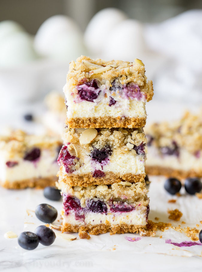 I made these Blueberry Crumble Cheesecake Bars for a party and they were the first to go!