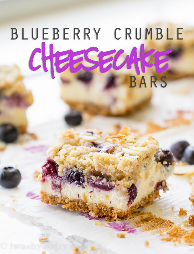 These Blueberry Crumble Cheesecake Bars combine all of my favorites into one super easy dessert recipe! So good!