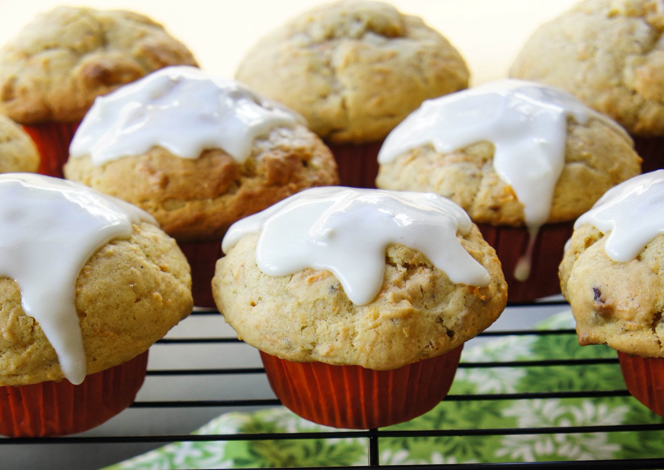 Bakery Style Carrot Cake Muffins with a Cream Cheese Glaze