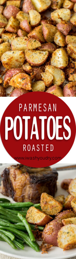 These Parmesan Roasted Potatoes are a crowd pleaser! Just wait till you see how easy this side dish recipe is!