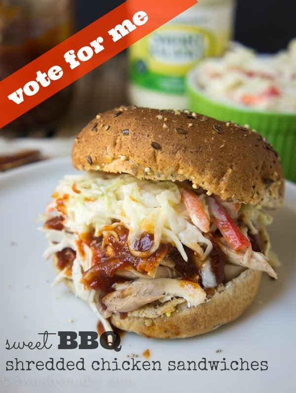 Sweet BBQ Shredded Chicken Sandwiches! Vote for this recipe by @iwashyoudry here: https://www.facebook.com/smartbalance/app_209700709180942