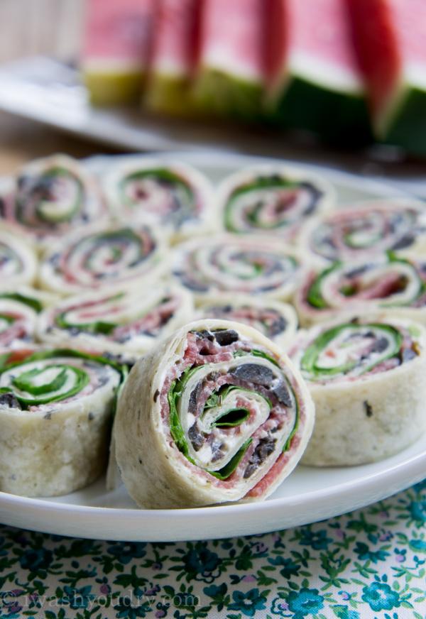 Salami Olive and Cream Cheese Pinwheels