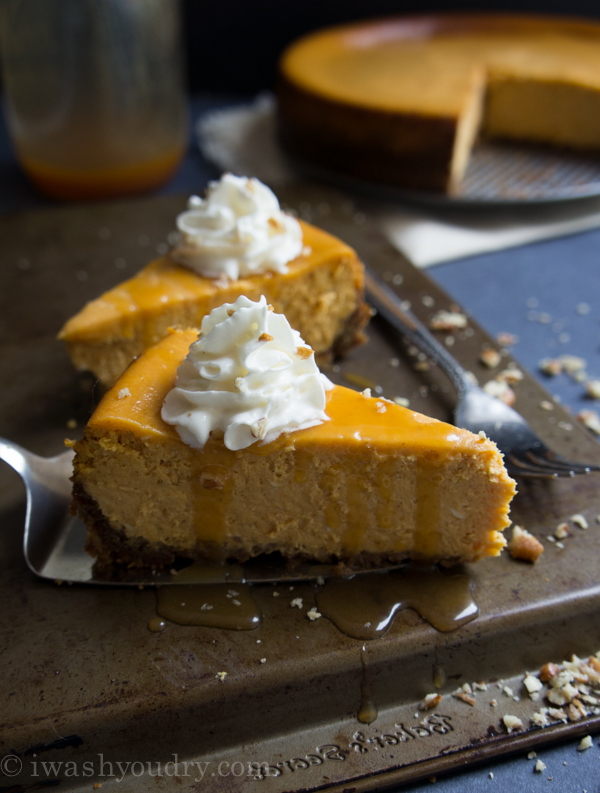 Pumpkin Cheesecake with a Gingersnap Pecan crust