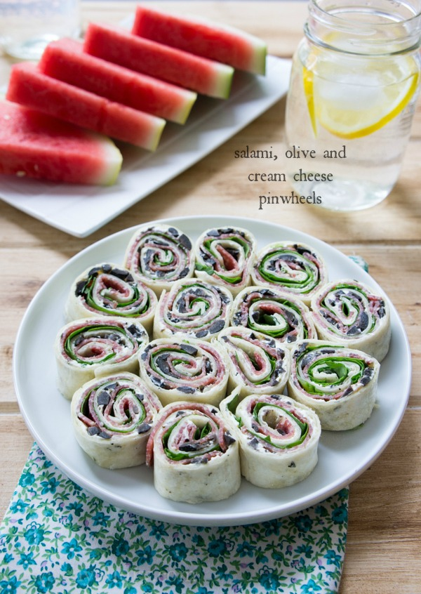 Salami, Olive and Cream Cheese Pinwheels