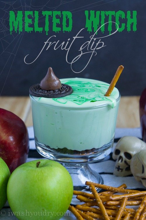 Melted Witch Chocolate Chip Cream Cheese Fruit Dip