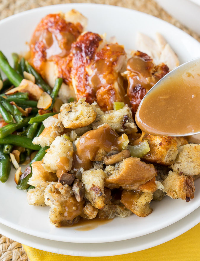 This Crock Pot Stuffing is always a favorite for Thanksgiving and Christmas! I love that it saves room in the oven for the turkey!