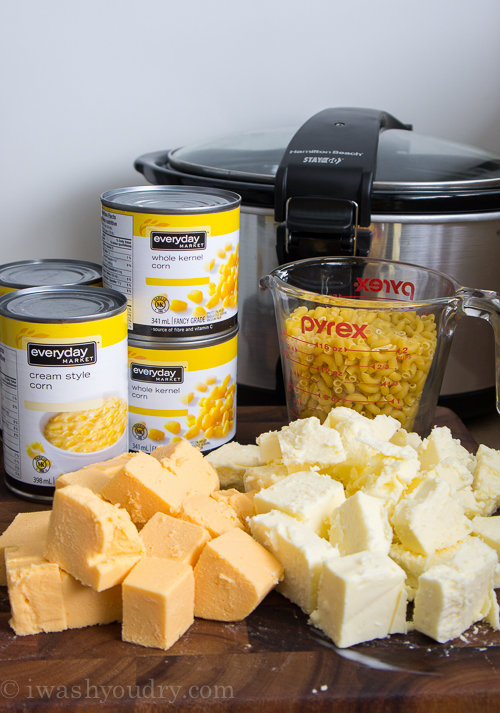 This Slow Cooker Macaroni and Corn Casserole is a super easy side dish that practically prepares itself!