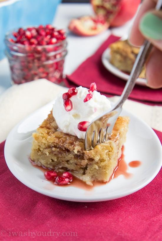 Skinny Pomegranate Pudding Cake