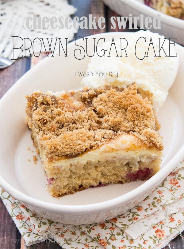 Cheesecake Swirled Brown Sugar Cake