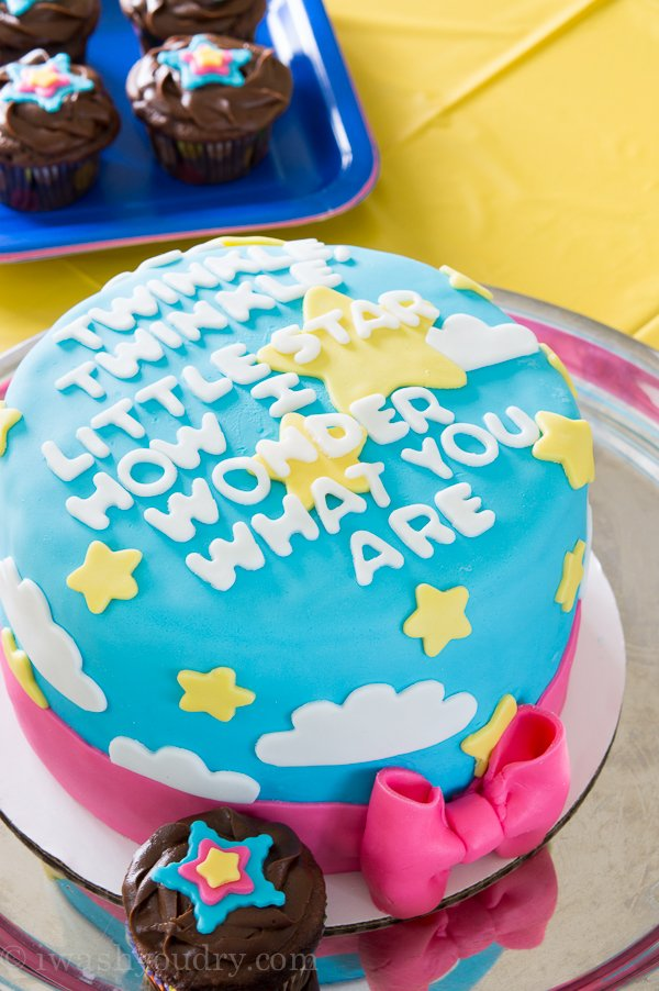 Gender Reveal Cake - Twinkle, Twinkle Little Star, How I Wonder What You Are