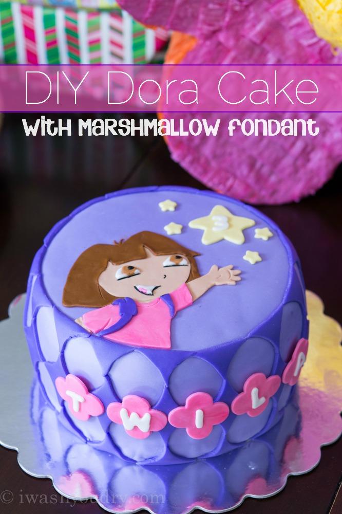 DIY Dora Cake with easy Marshmallow Fondant