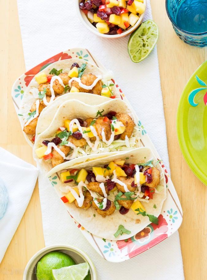 Crispy Shrimp Tacos with a Mango-Cranberry Salsa