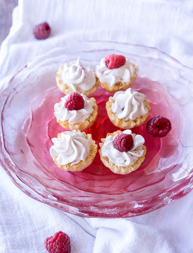 White Chocolate Raspberry Mousse Tartlets