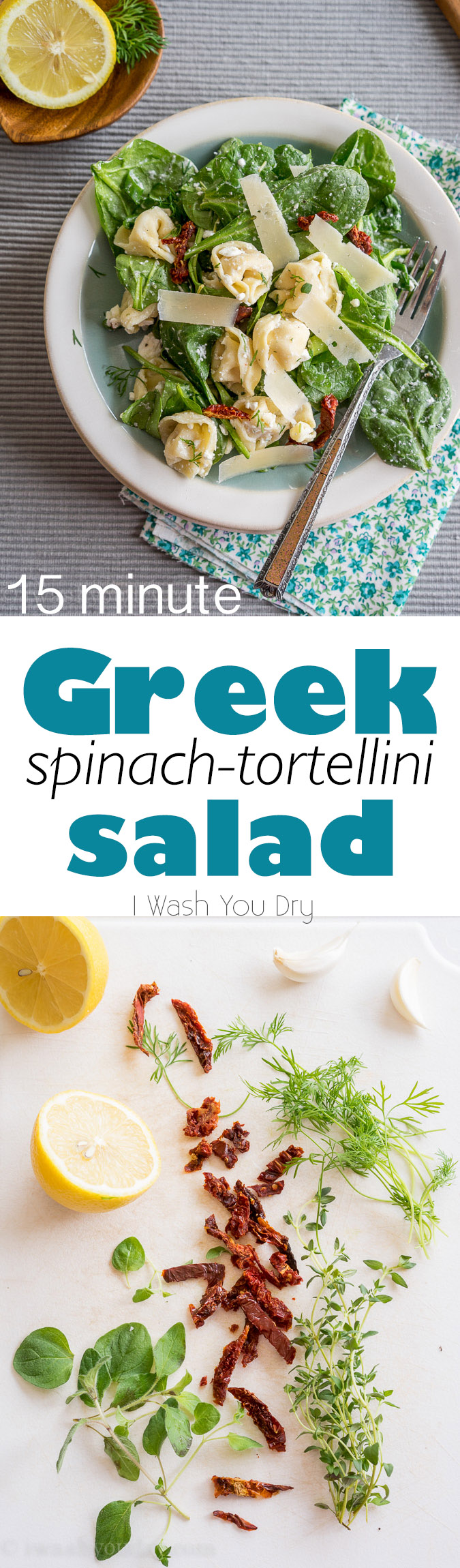 Love this quick and easy Greek Spinach-Tortellini Salad. The flavors are all great together!