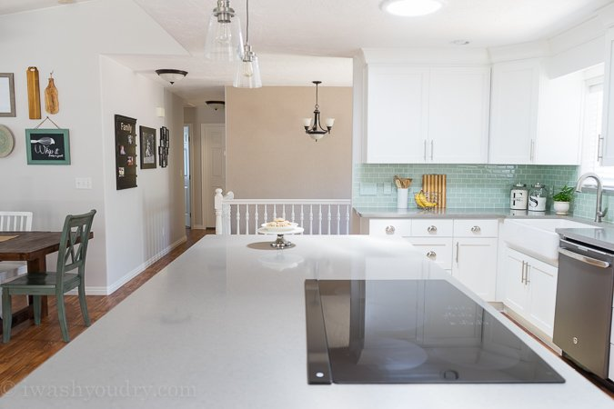 Inspirational Love the bright white shaker style cabinets with the Quartz grey countertops It looks like