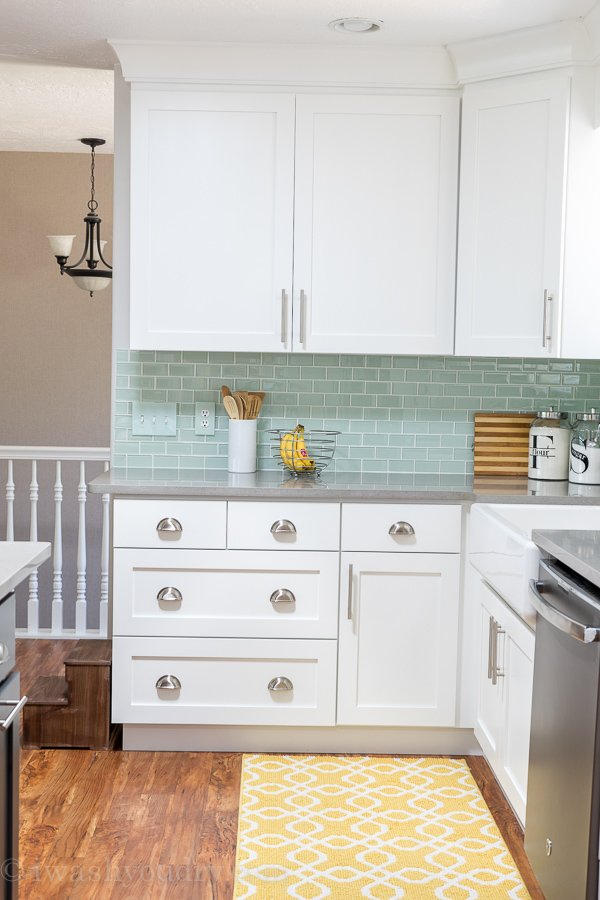 Cool Kitchen Reveal love this kitchen Everything this blogger did from new white shaker