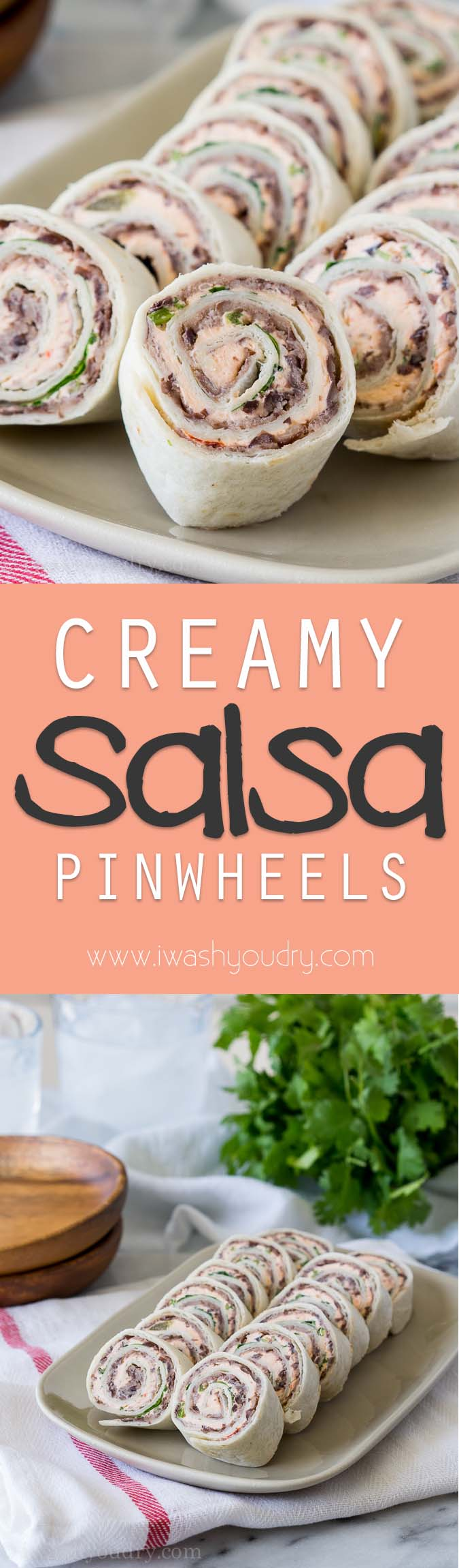 Super easy 4 ingredient Creamy Salsa Pinwheels!