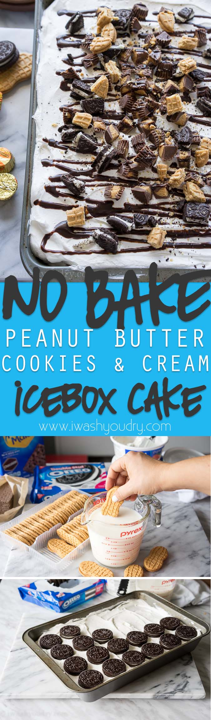 Insanely delicious - No Bake Peanut Butter Cookies and Cream Icebox Cake!!