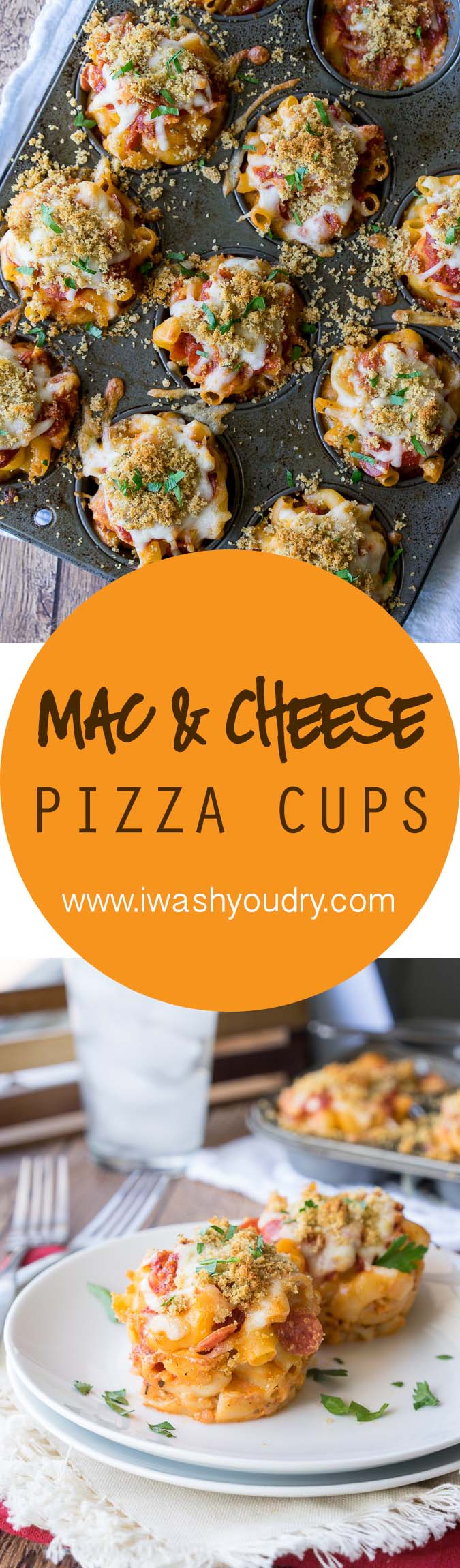 Super Easy Mac and Cheese Pizza Muffin Cups! My kids totally love these cheesy and saucy cups and they're great for game-day too!