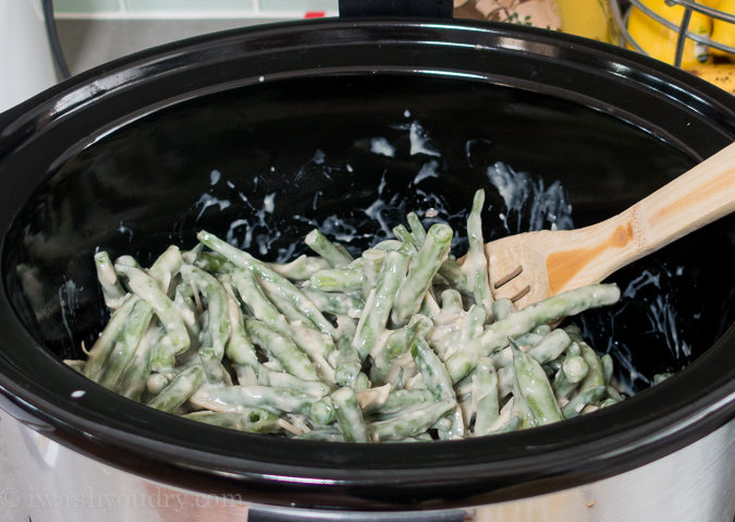 This CrockPot Green Bean Casserole recipe is a perfect side dish for Thanksgiving or Christmas when the oven is full.