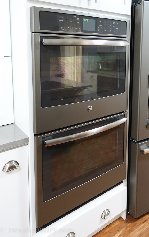 ge profile double wall oven in slate