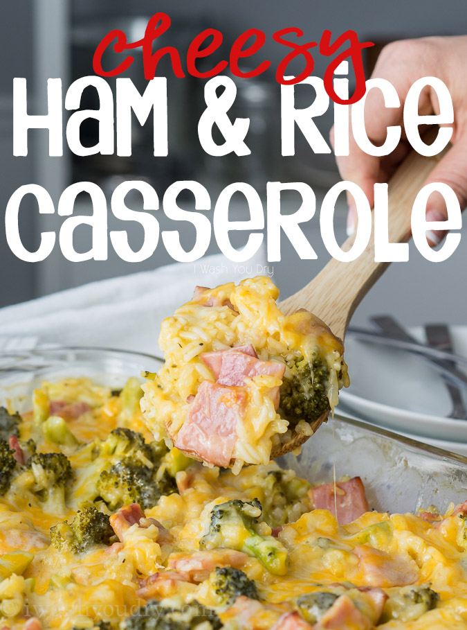 Cheesy Leftover Ham and Rice Casserole