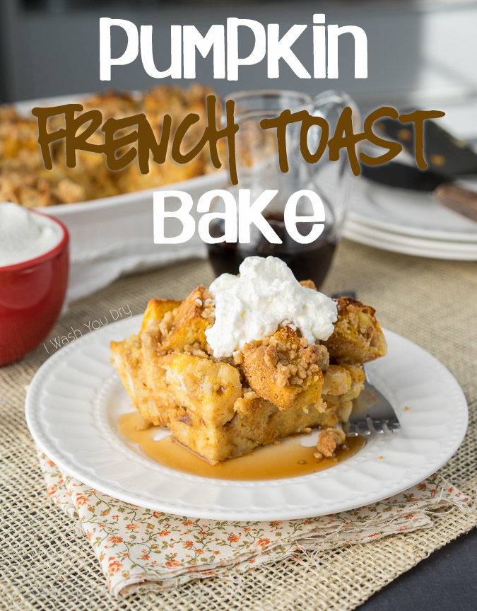 This Pumpkin French Toast Bake is filled with a delicious pumpkin pie flavor and topped with a gorgeous crumb topping. It's a family breakfast casserole type recipe that we can't get enough of!