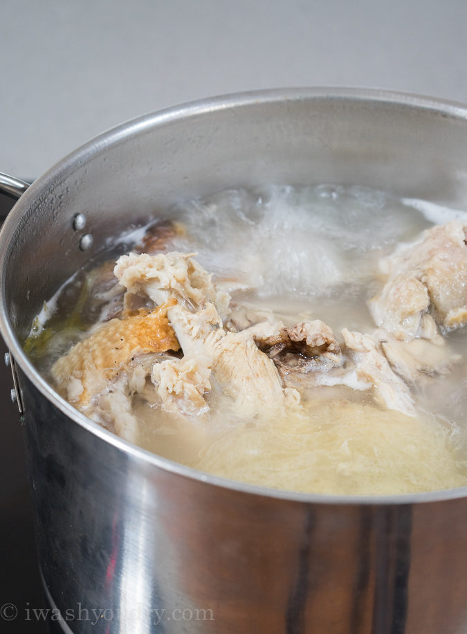 Homemade Turkey Noodle Soup with the turkey carcass!