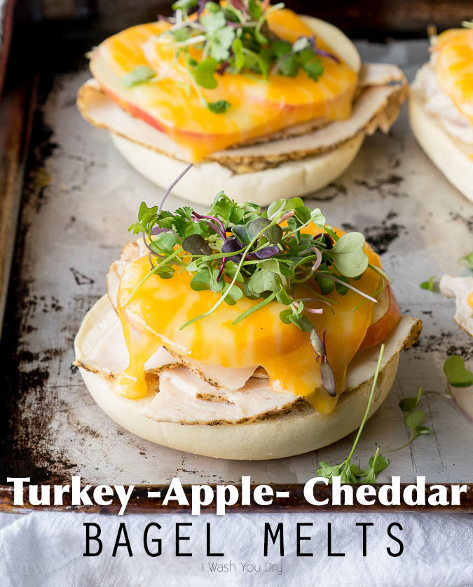 These Turkey Apple Cheddar Bagel Melts are super easy to whip up for a quick lunch, and are perfect for a group of friends too!