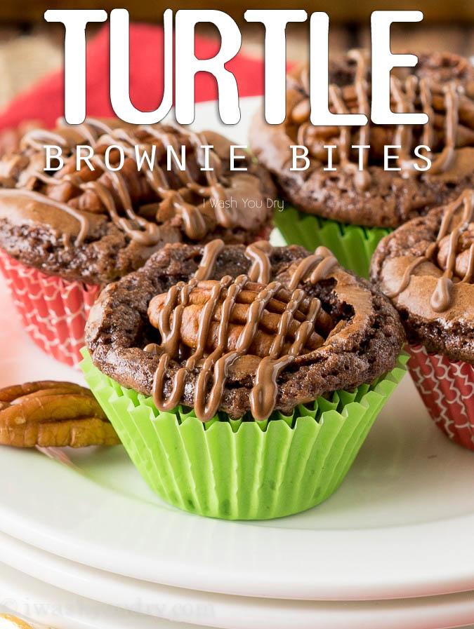 Turtle Brownie Bites