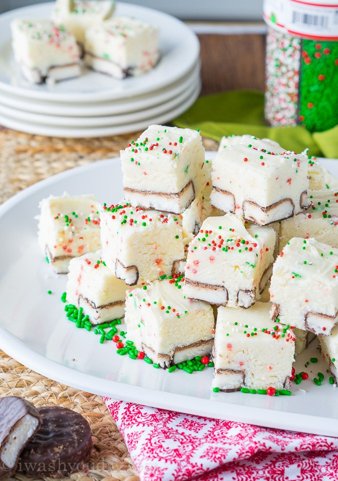 White Chocolate Peppermint Pattie Fudge