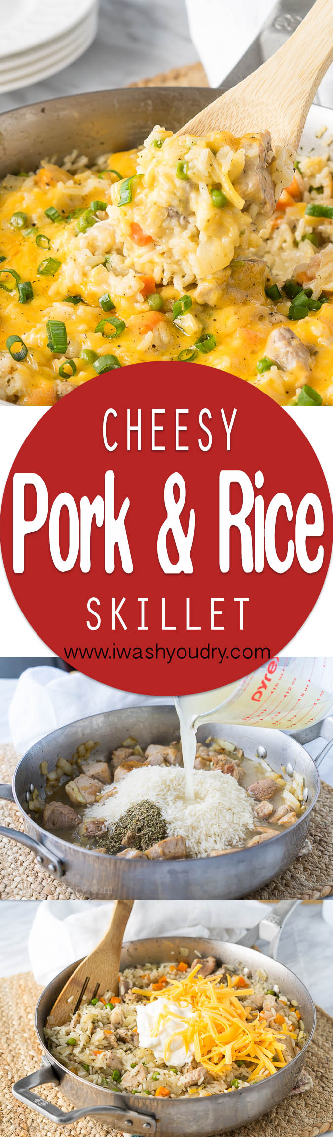 This Cheesy Pork and Rice Skillet is a complete meal all in one skillet!