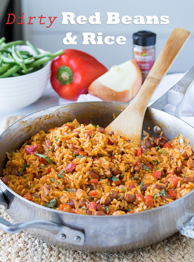 I'm in love with this one skillet Red Beans and Rice! It's a super quick side dish recipe, but can easily be turned into a main course by adding sliced andouille sausage!