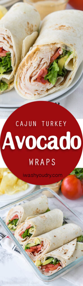 These Cajun Turkey Avocado Wraps are the perfect way to spruce up your lunch box! Filled with thinly sliced deli turkey, plump tomatoes, creamy avocado and a zippy cajun mayo, these wraps are bursting with flavor!