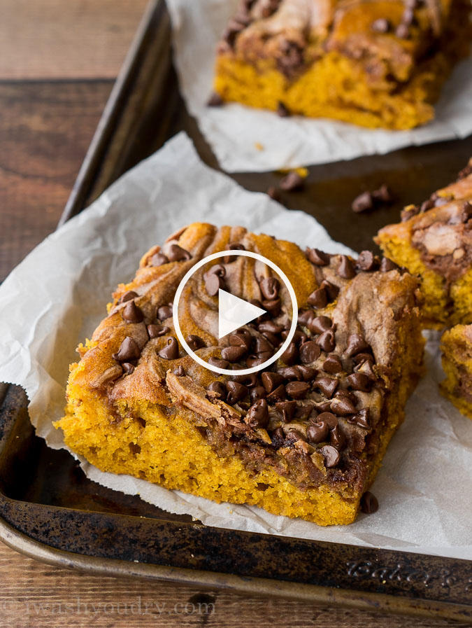 These Chocolate Swirled Pumpkin Bars look so amazing! I love how easy they are to make too!
