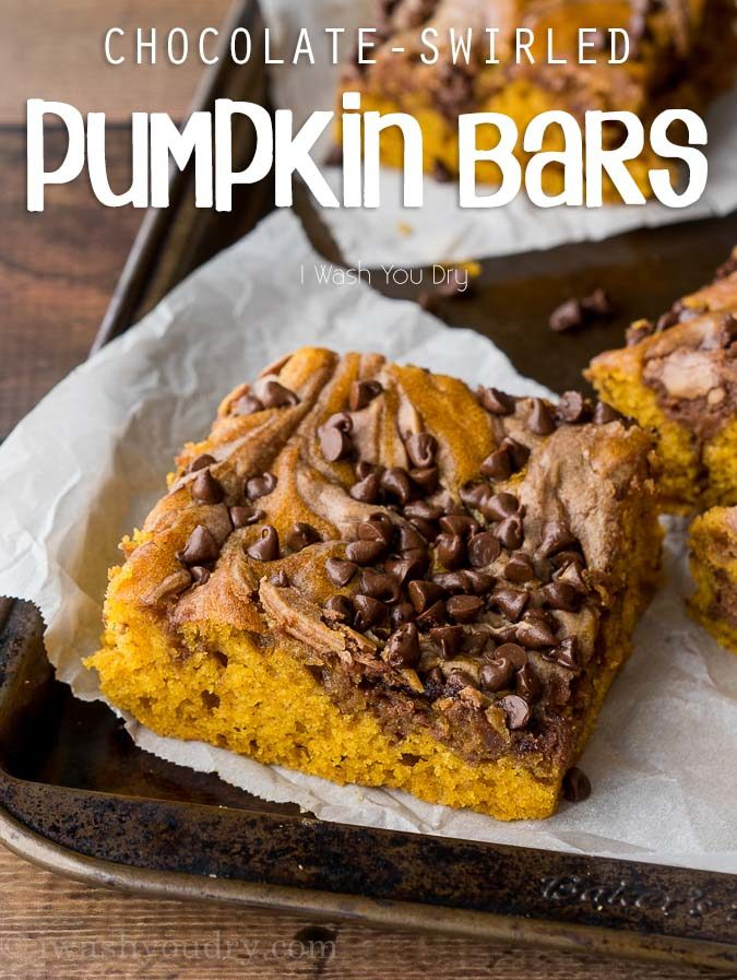 These Chocolate Swirled Pumpkin Bars are made on a large baking sheet, which make them perfect for taking to pot lucks and parties this Fall! I love that chocolate cheesecake swirled throughout too!