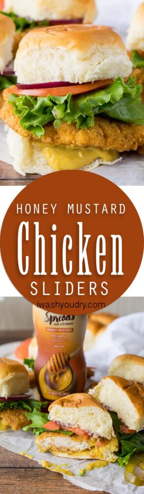 I'm obsessed with these Crispy Honey Mustard Chicken Sliders! The sweet and tangy honey mustard spread is amazing!