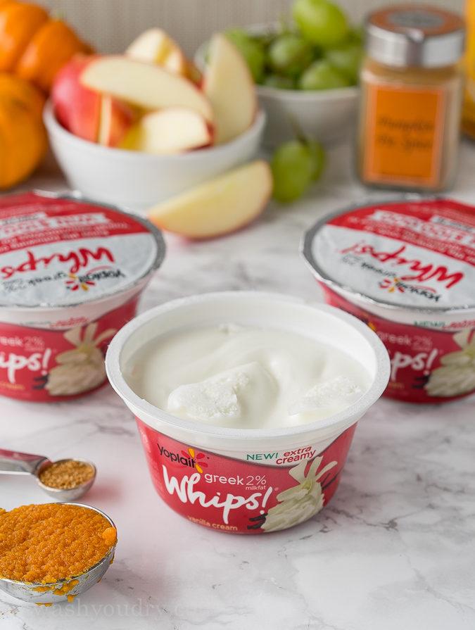 This Pumpkin Pie Yogurt Dip is just 3 simple ingredients and tastes so great with pie crust chips or crisp apples!