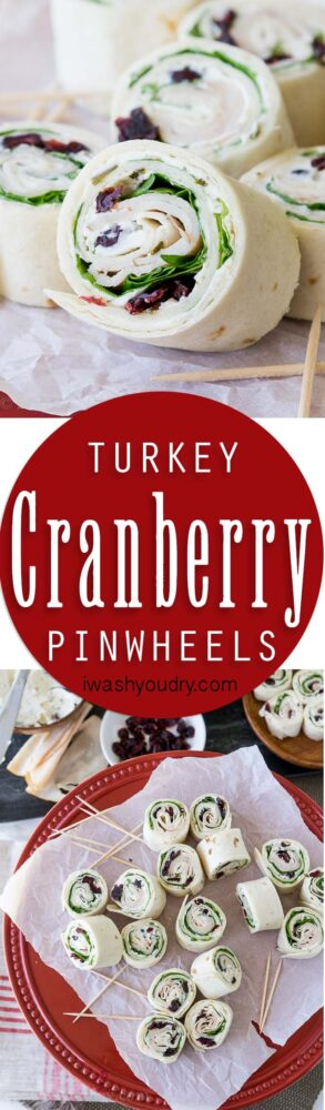 These Turkey Cranberry Pinwheels are filled with a creamy cream cheese, spinach, turkey and cranberries! Perfect for lunch or appetizers!