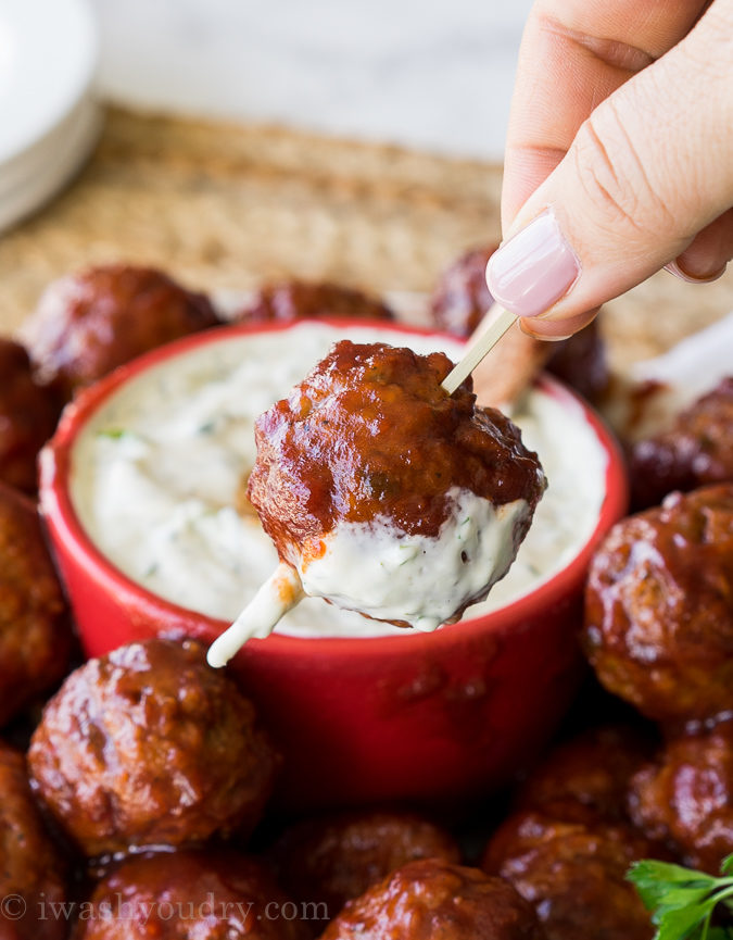 Cranberry Meatballs with Sour Cream Herb Dip - I Wash... You Dry