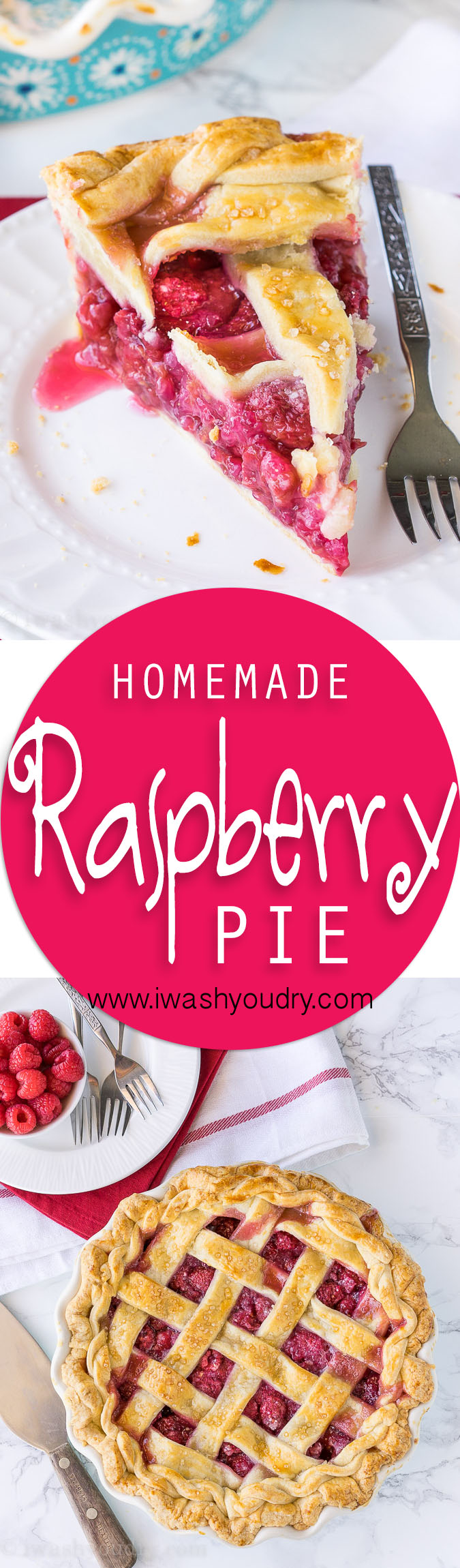 This homemade Raspberry Pie recipe is perfection! The filling is sweet and stays together, doesn't fall apart!