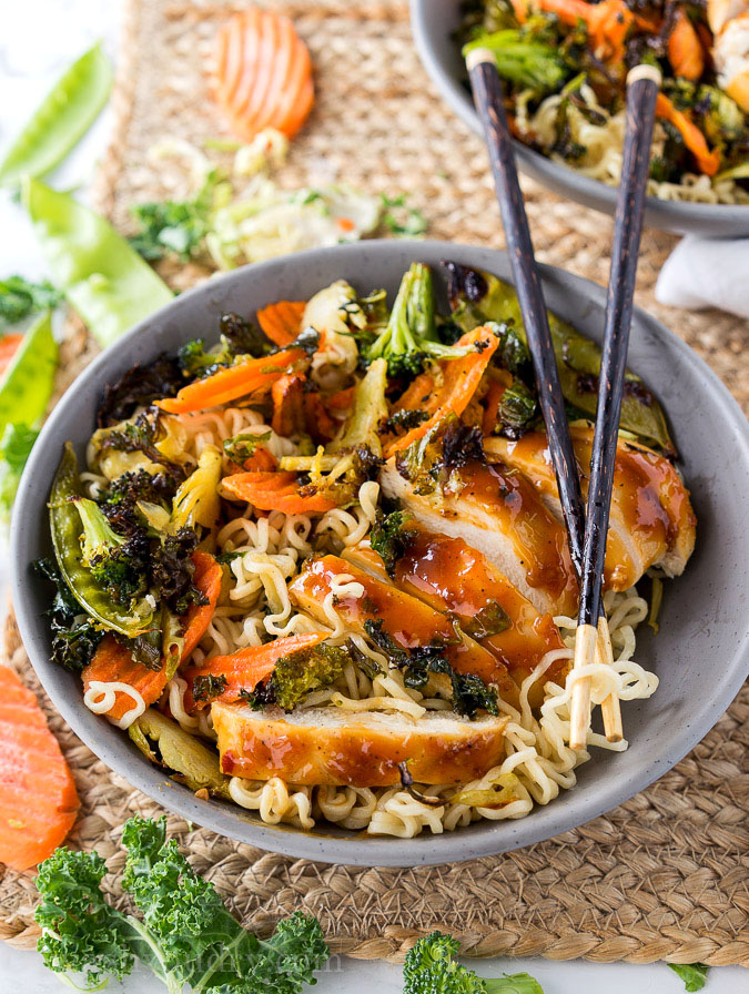 Roasted Orange Chicken Ramen Bowls